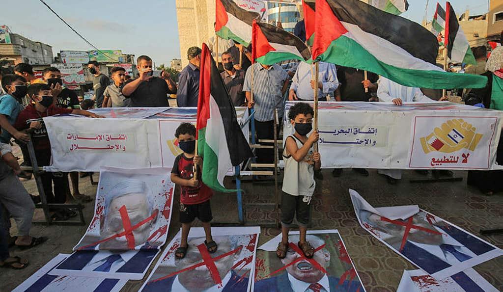 Protest Palestincev zaradi dejanja ZAE in Bahrajna