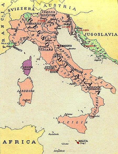 Italijanske meje, kot jih vidijo neofašisti Vir:Wikipedia