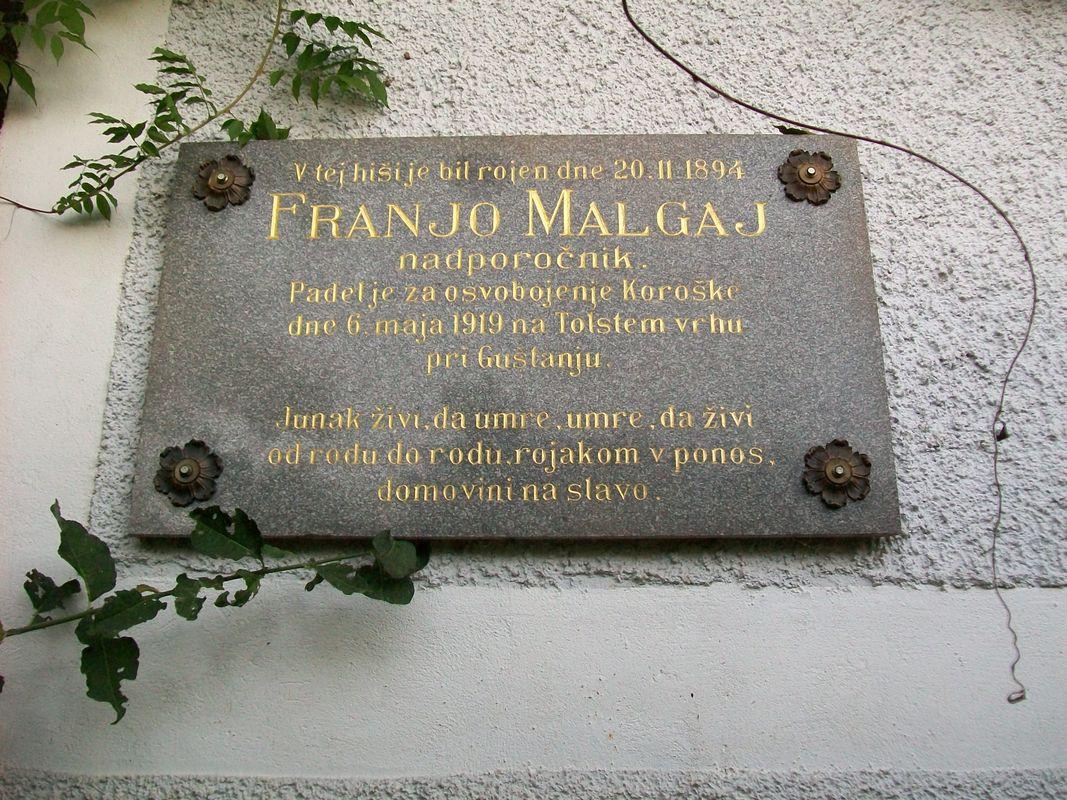 Franjo Malgaj, spominska plošča