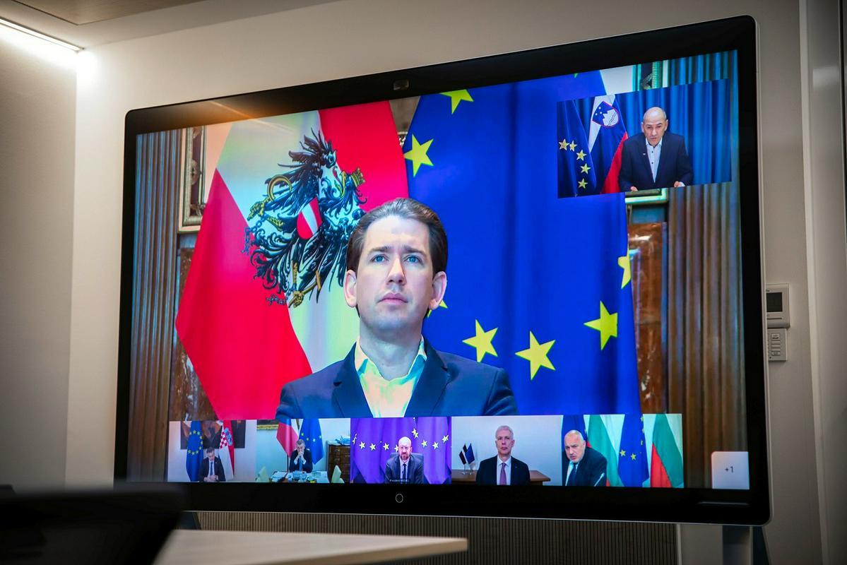 Videokonferenca Sebastiana Kurza in peterice somišljenikov  Vir:Posnetek zaslona