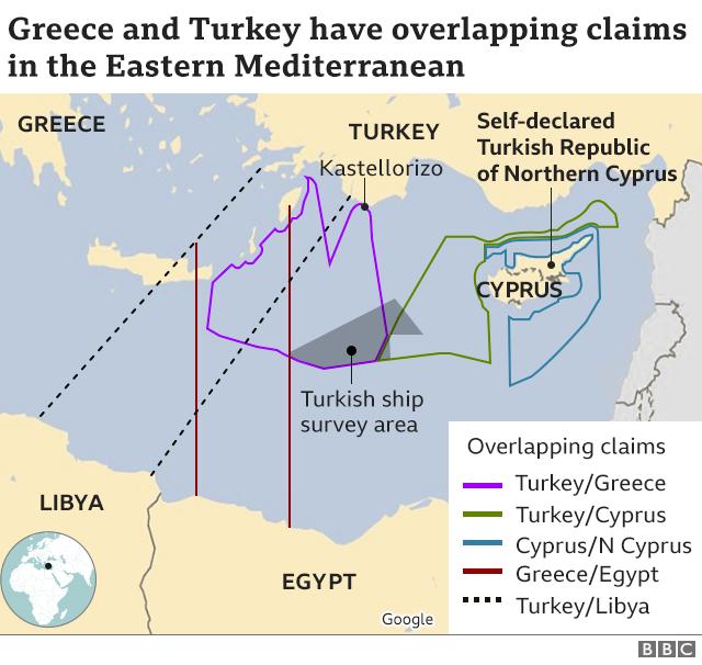 Izključne ekonomske cone Egipta in Turčije - ki se izključujejo