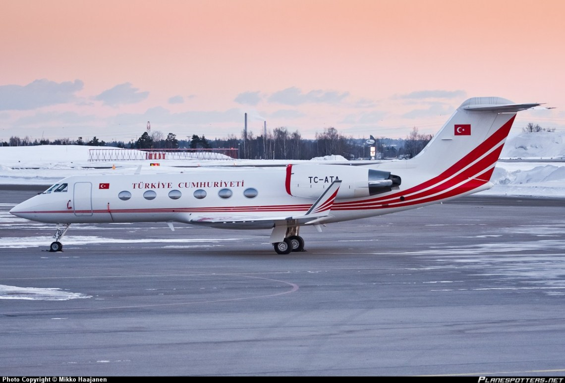 Letalo turškega predsednika Gulfstream IV Vir:World at War