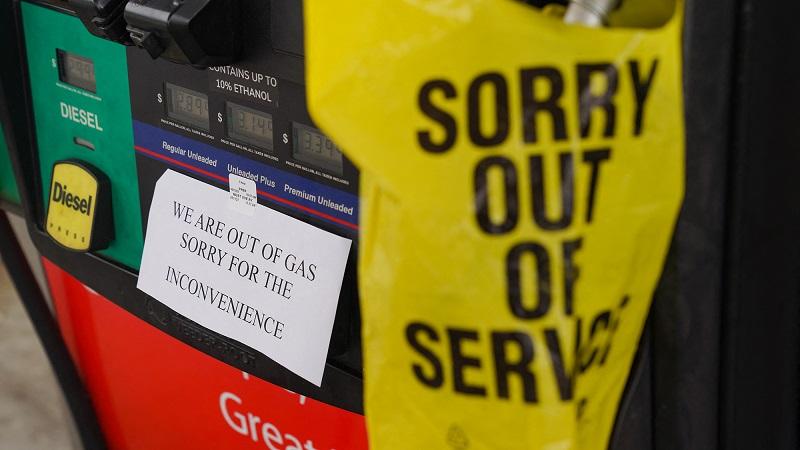 Zaprta bencinska postaja v ZDA   Vir: CNN, posnetek zaslona