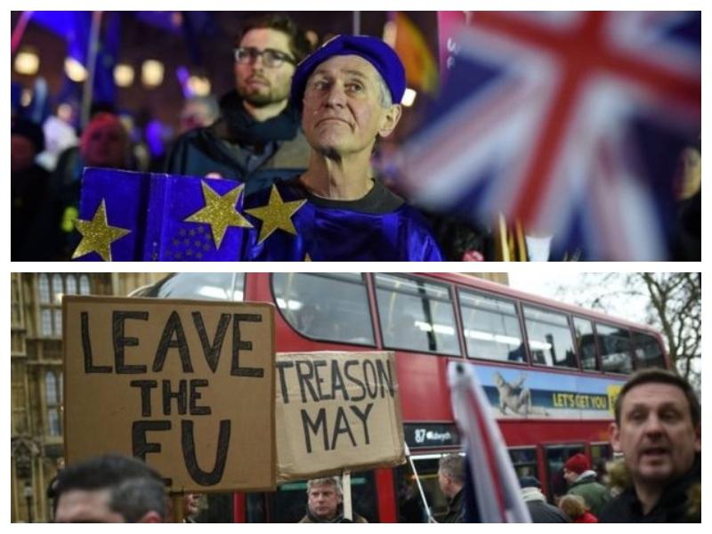 Zagovorniki in nasprotniki brexita pred britanskim parlamentom