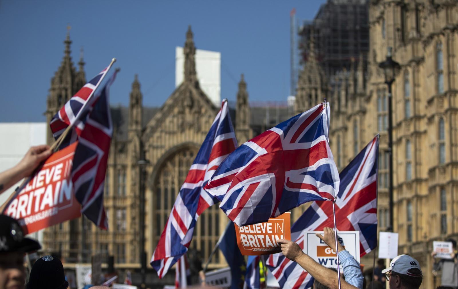 """Demonstranti """"za"""" brexit Vir:Pixsell"""