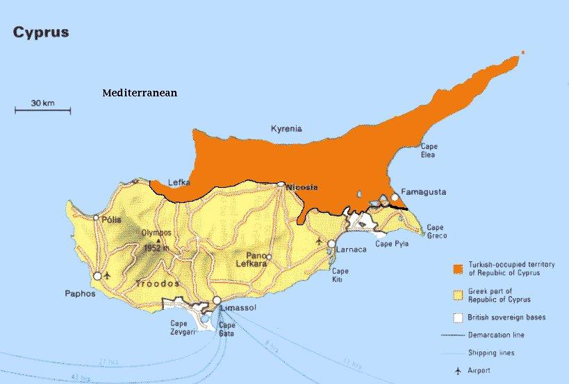 Ciper, severni in južni del