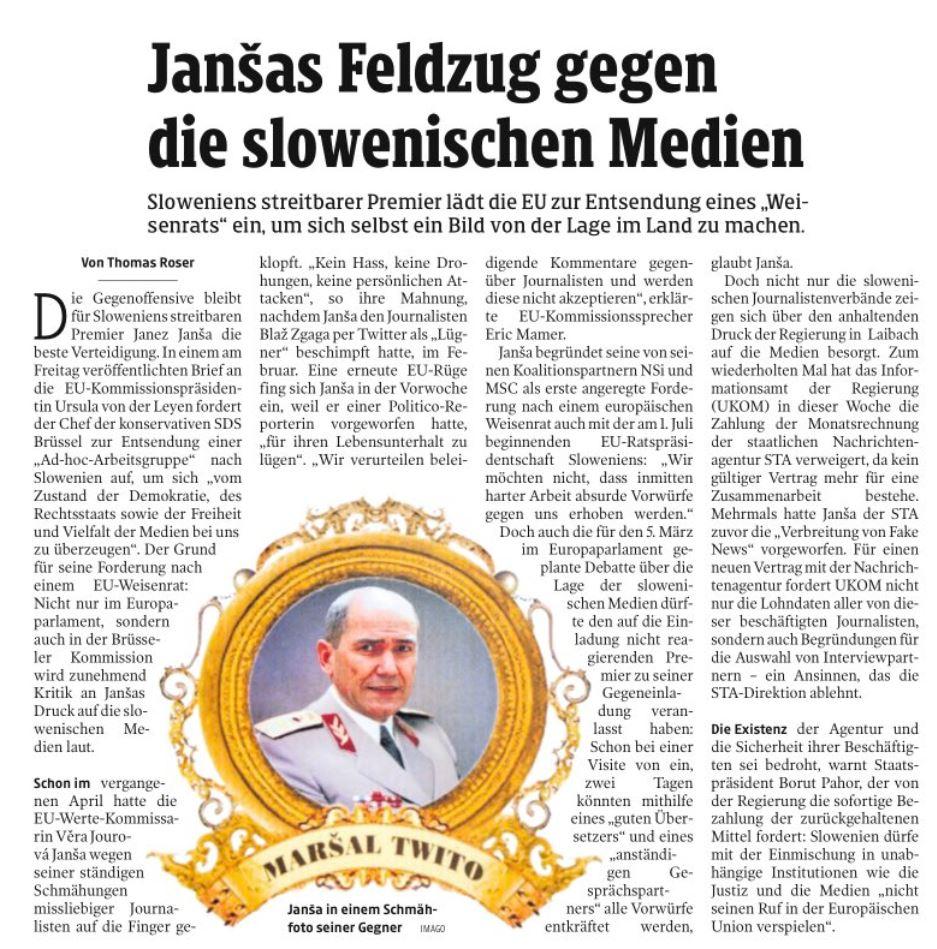 Članek Kleine Zeitunga o Sloveniji