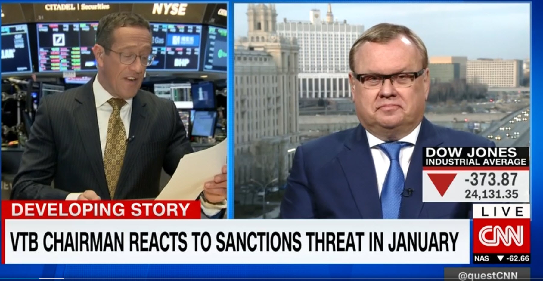 CNN - pogovor o zlatu z guvernerjem ruske centralne banke
