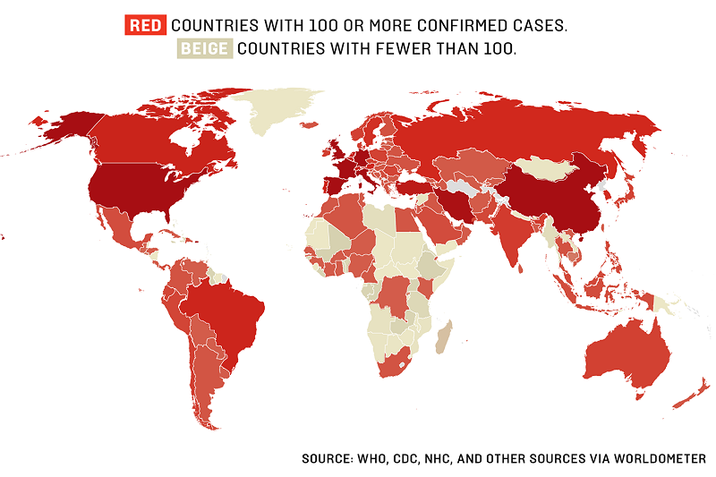 Razširjenost koronavirusa po svetu, belo pod 100