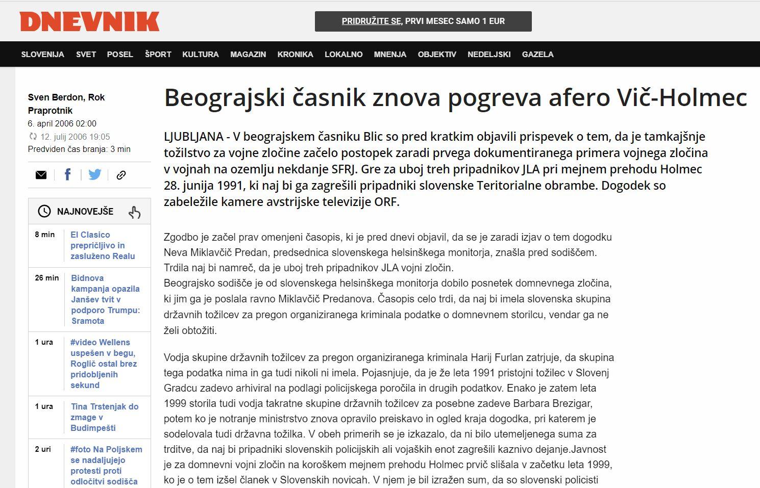 """Dnevnik - """"pogrevanje"""" afere Holmec"""
