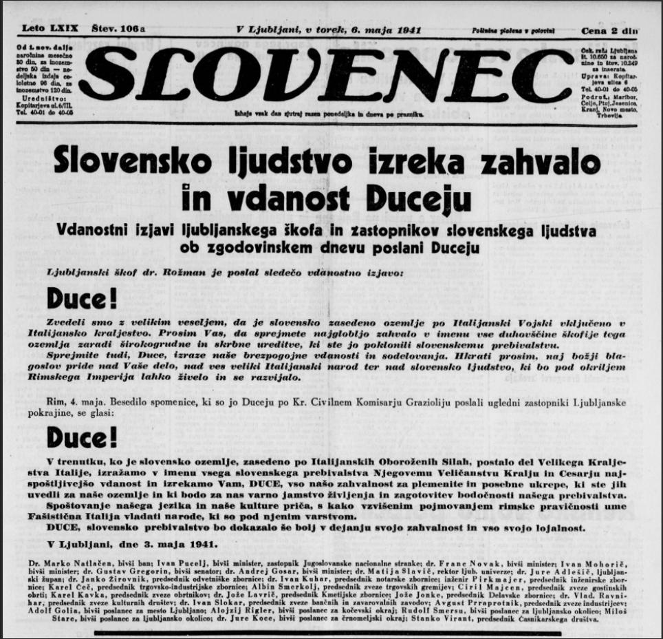 Slovenska zahvala duceju