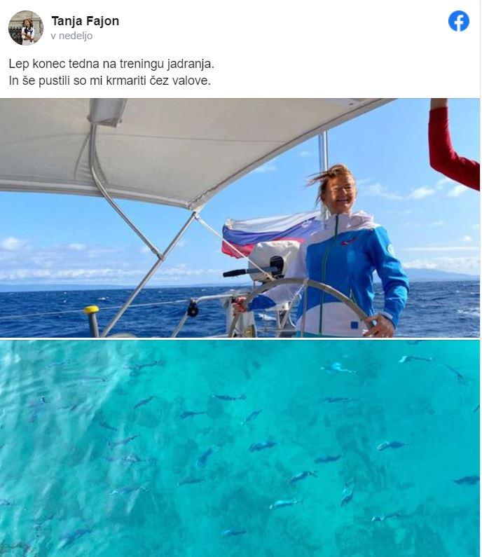 Tanja Fajon na morju Vir: FB