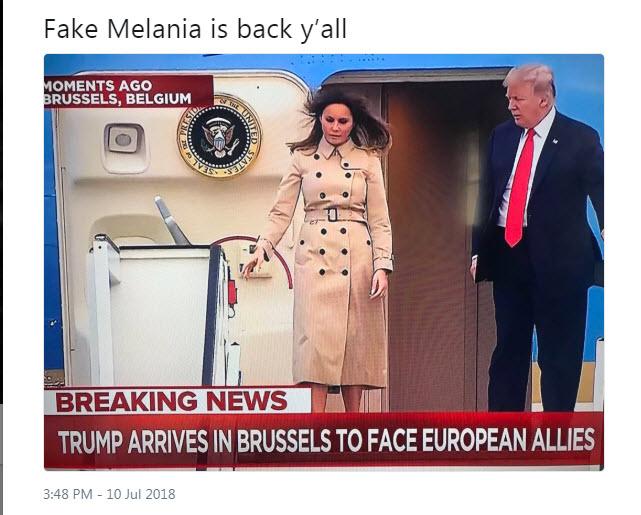 Lažna Melania, izstop iz letala