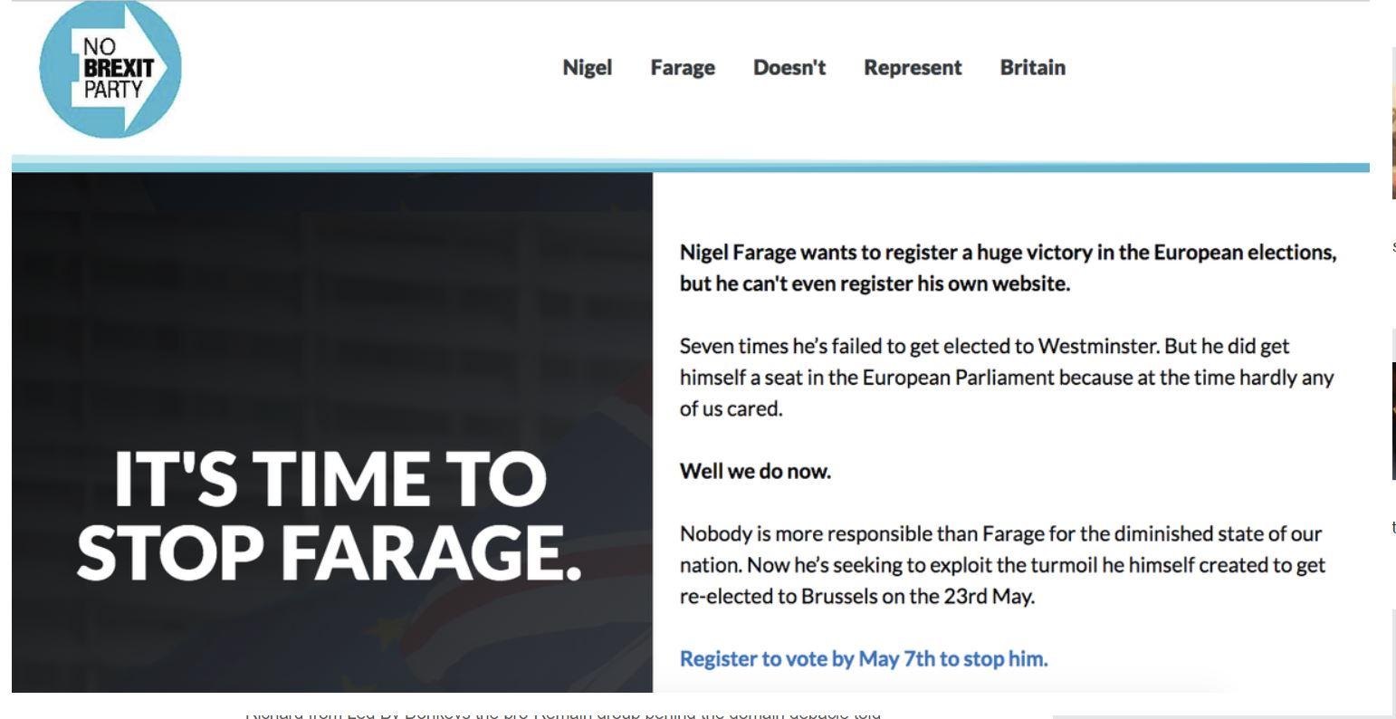 "Farage - napis na ""njegovi"" spletni strani"