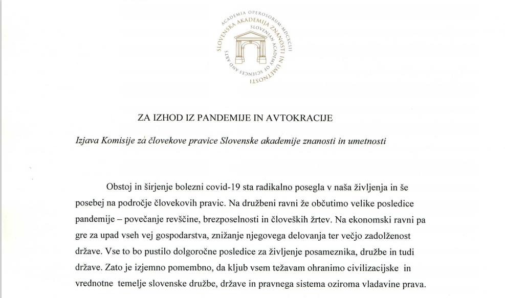 Izjava SAZU - začetek