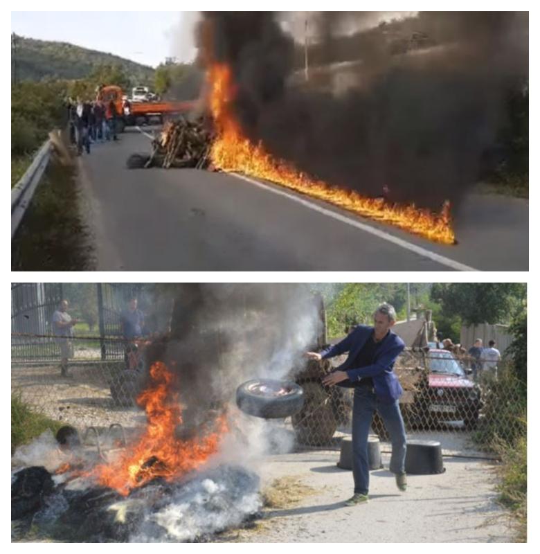 Goreče gume - kosovski Albanci, blokada