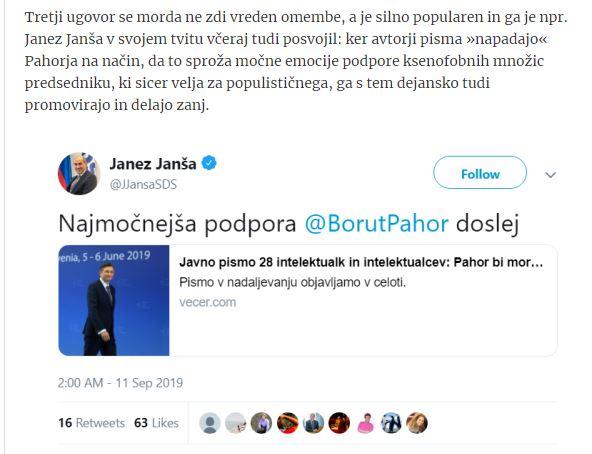 Janez Janša - slaba obramba Boruta Pahorja