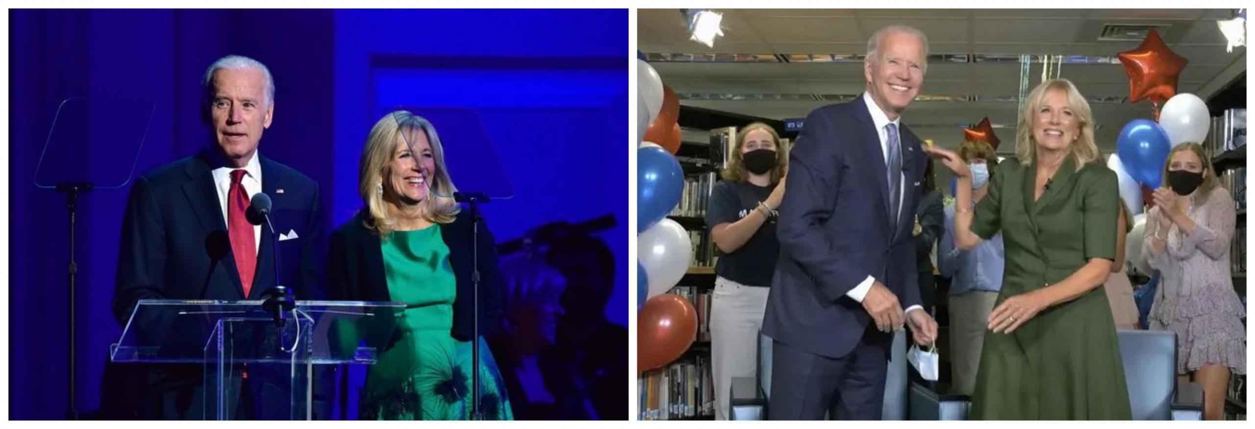 Jill in Joe Biden leta 2015 in danes. Vir: Twitter
