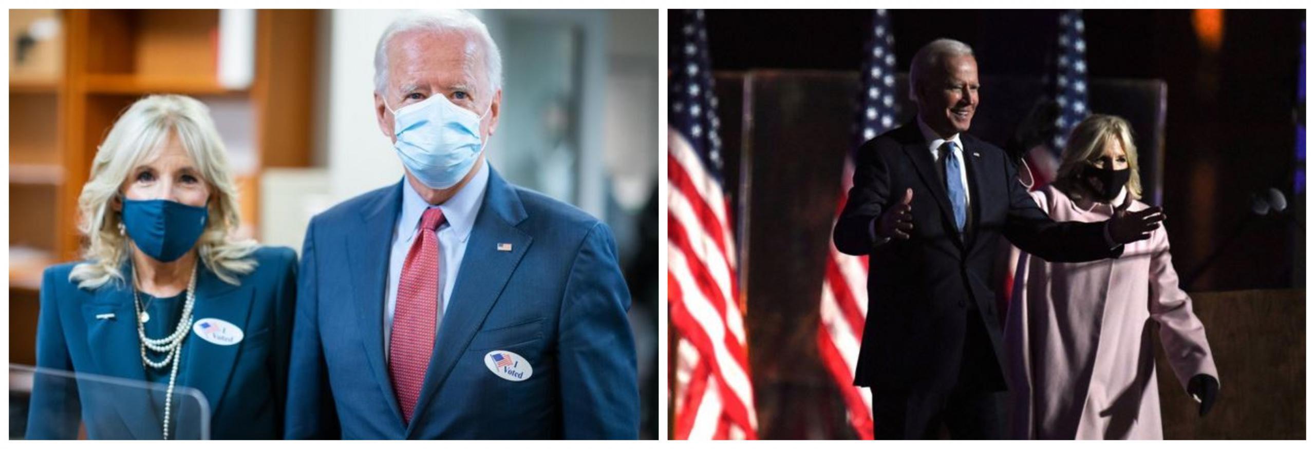 Joe in Jill Biden na volilni večer. Vir: Twitter