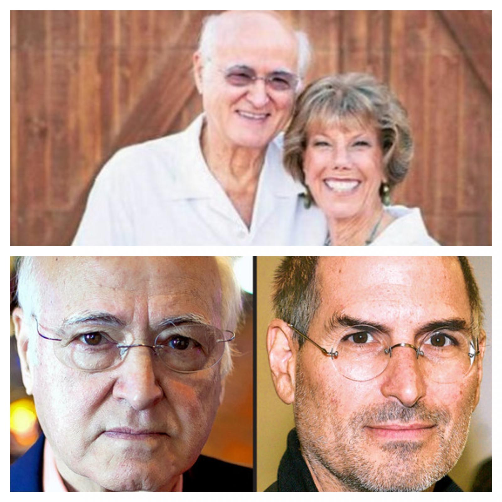 Steve Jobs in starši - Abdulfattah Jandali (spodaj) ter zakonca Jobs (zgoraj)