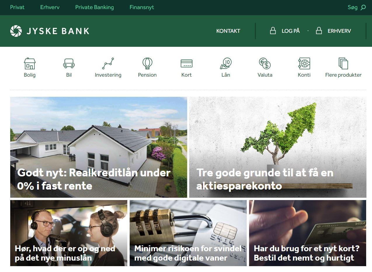 Jyske bank - spletna stran