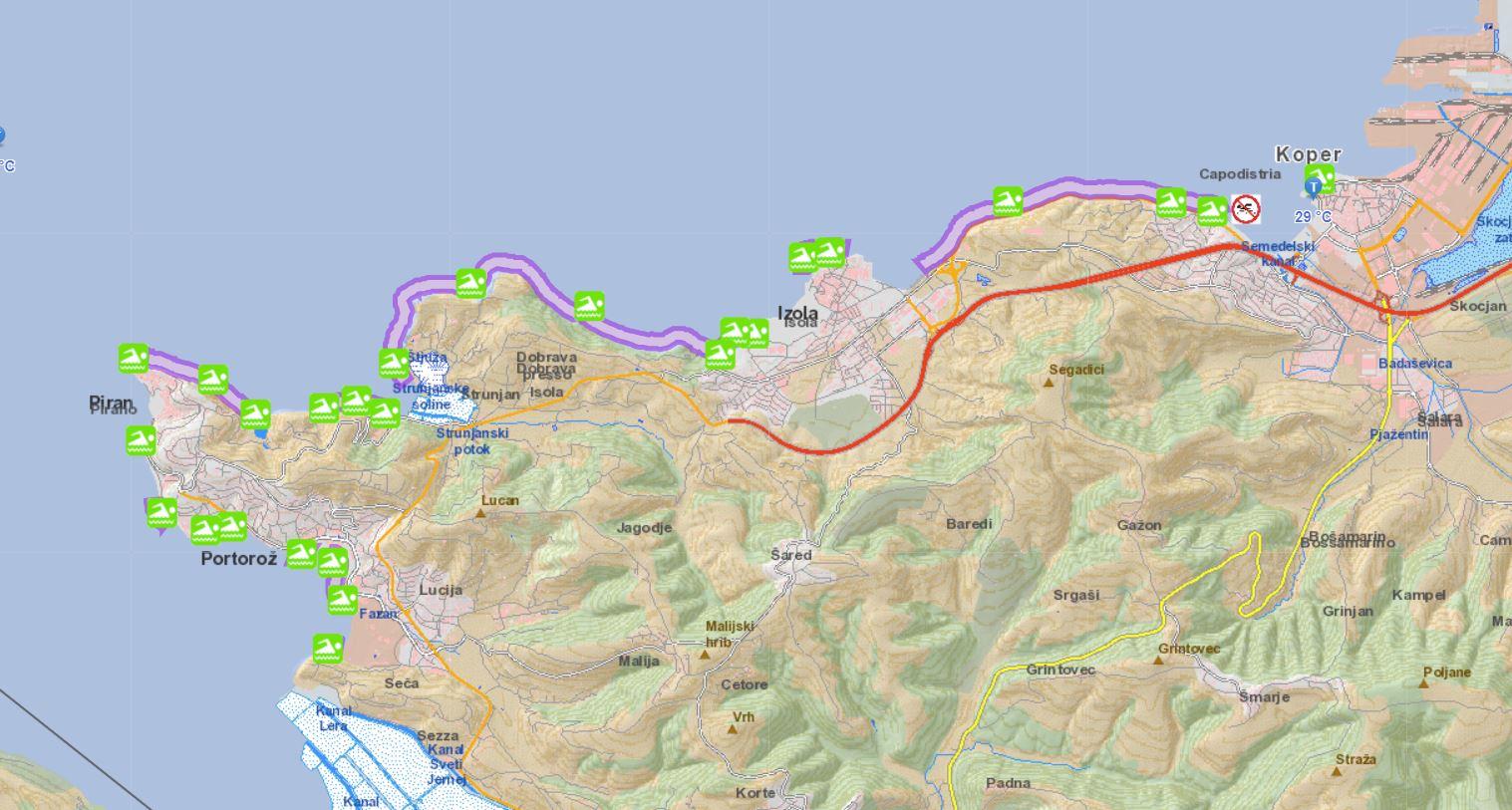 Interaktivna mapa kopališč