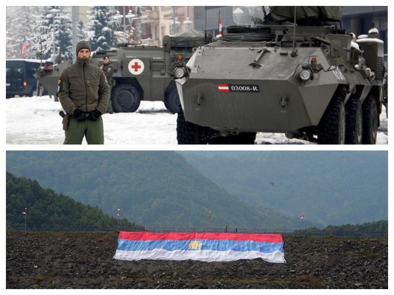 Kfor in srbska zastava