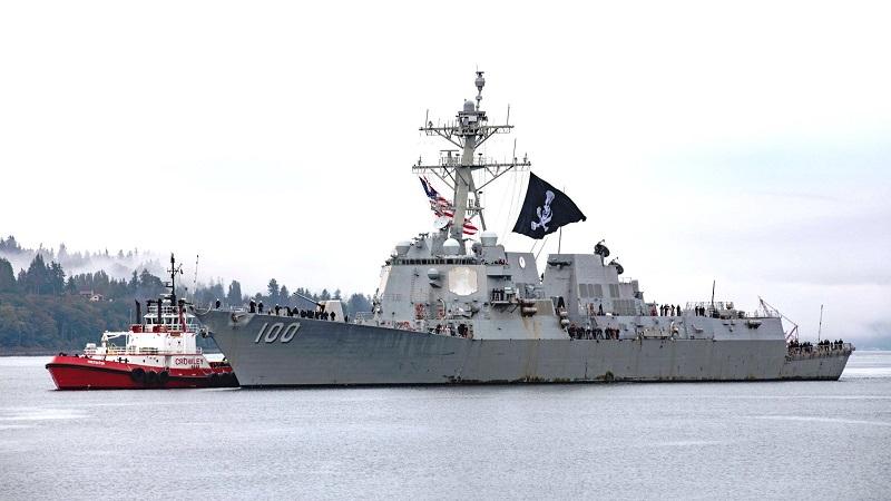 Ameriški rušilec Kidd s piratsko zastavo Vir:The Drive, Twitter