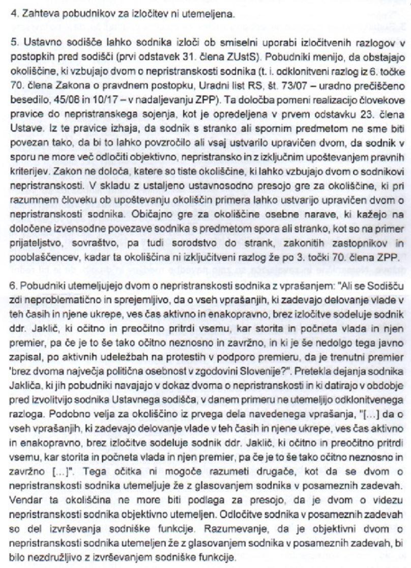 Obrazložitev ustavnega sodišča - Klemen Jaklič