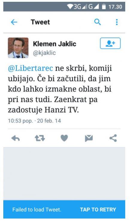 Tvit dr. jakliča Vir: Posnetek zaslona