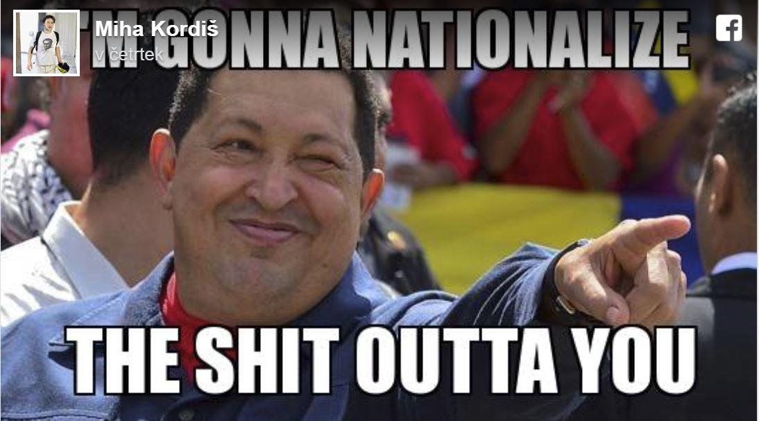 Kordiš - tvit, Hugo Chavez