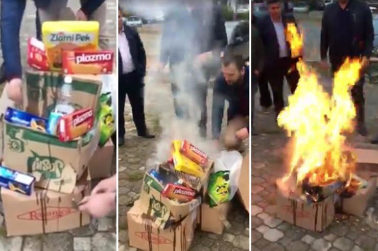 Zažiganje srbskih proizvodov - Kosovo Vir:Blic