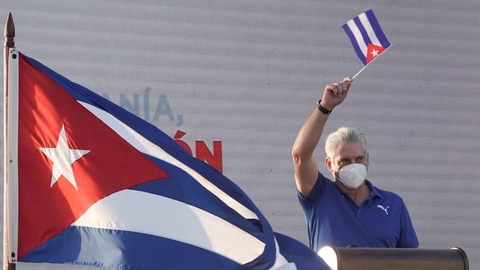 Predsednik Kube med govorom