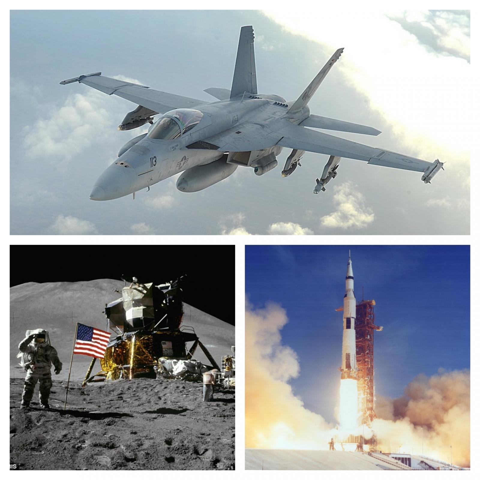 F 18, pristanek na Luni in izstrelitev Saturna V v programu Apollo