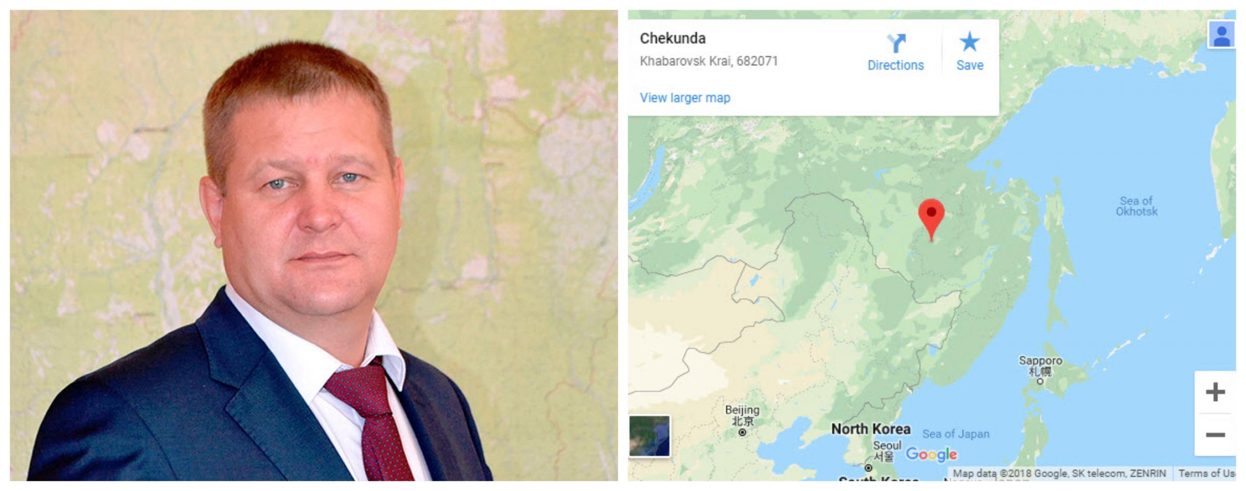Aleksej Maslov in prizorišče incidenta, vir Siberian Times