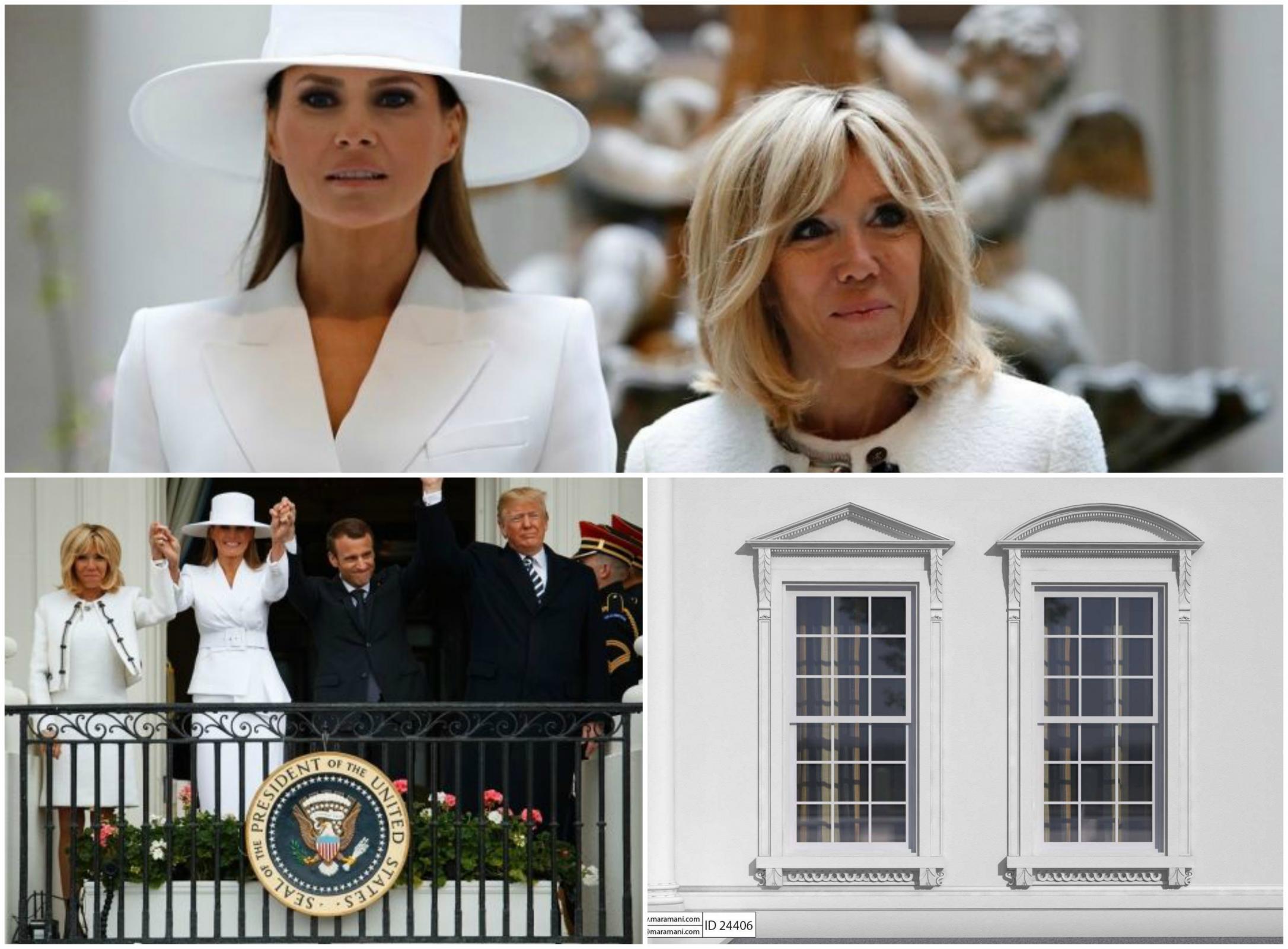 Melania Trump, Brigitte Macron in okni Bele hiše