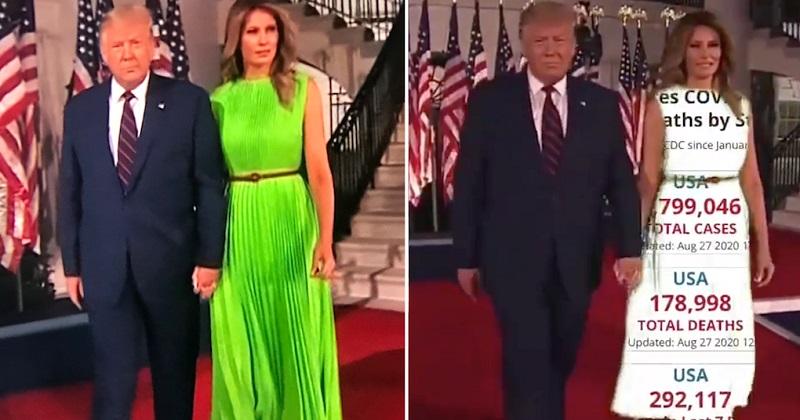 Melania in njena napaka - zelena obleka