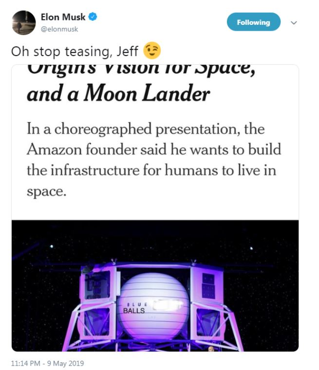Modra jajca - tvit Elona Muska