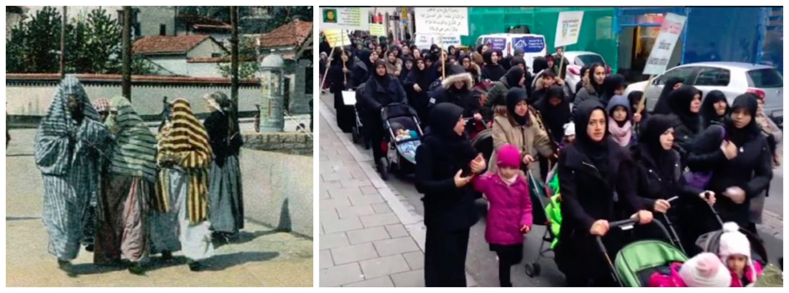 Muslimanke v Sarajevu pred stoletjem in na Švedskem, danes, vir: Twitter