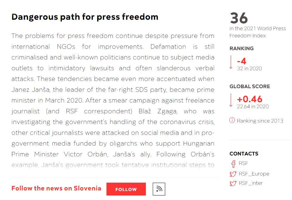 Slovenija vse hitreje navzdol tudi na mednarodnih lestvicah medijskih svoboščin