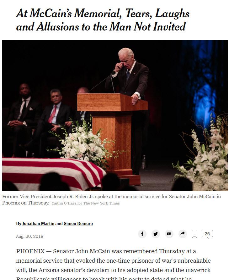 """Na McCainovem pogrebu o """"človeku, ki ni povabljen"""""""