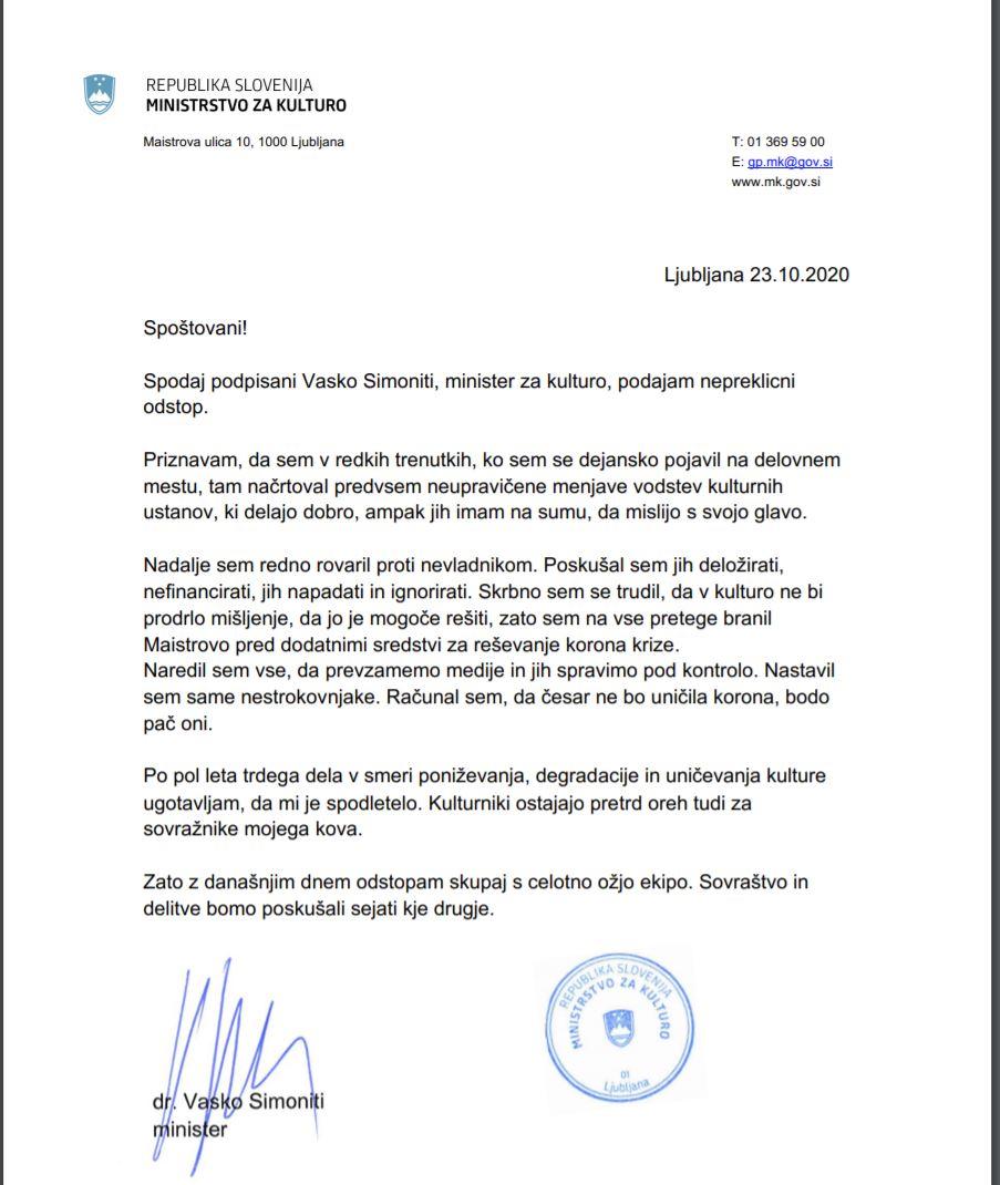 Odstop ministra Simonitija - akcija delavcev v kulturi