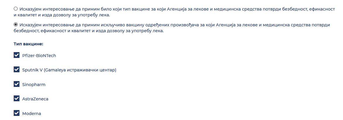 Izbira: prebivalcem Srbije je na voljo pet cepiv, lahko sami določijo, katero želijo. Vir: Twitter