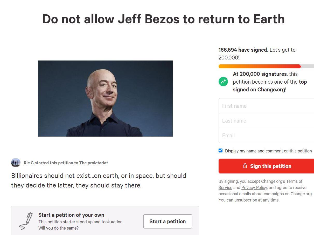 Peticija proti Bezosu Vir:Posnetek zaslona