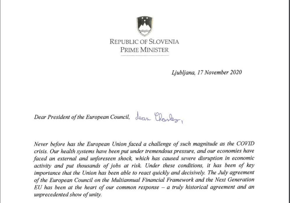 Janša, pismo voditeljem EU, začetek