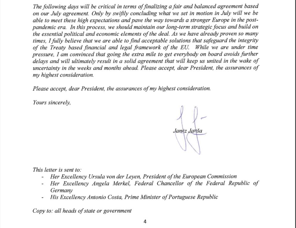 Janša, pismo voditeljem EU, konec