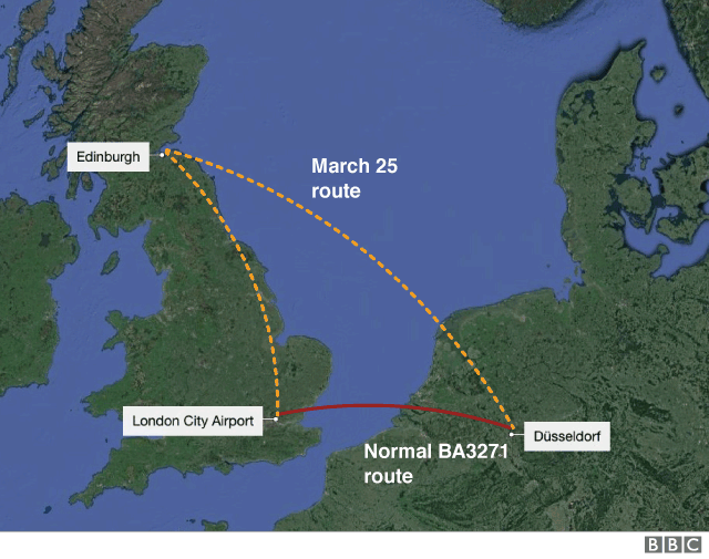 Pot letala British Airways - napačen polet Vir:BBC