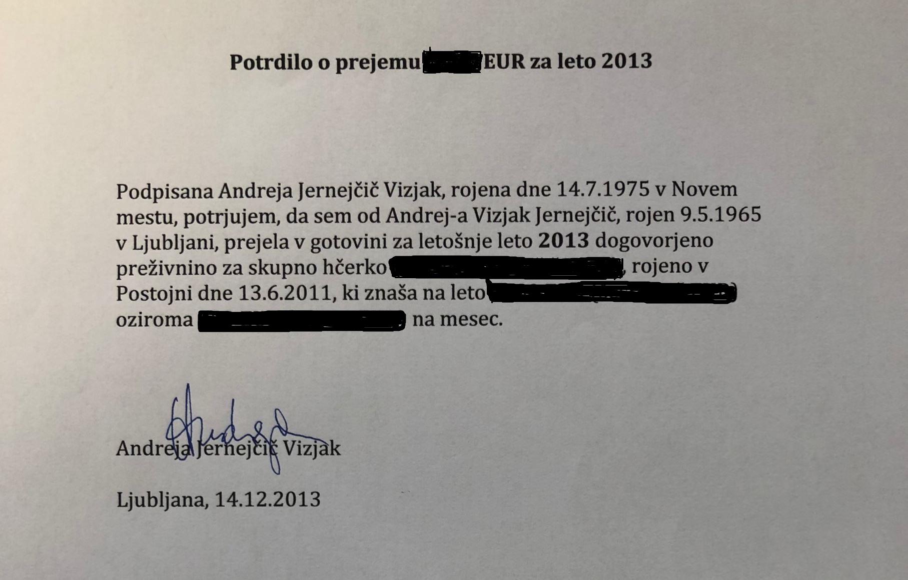 Potrdilo o prejemu preživnine - Andreja Jernejčič