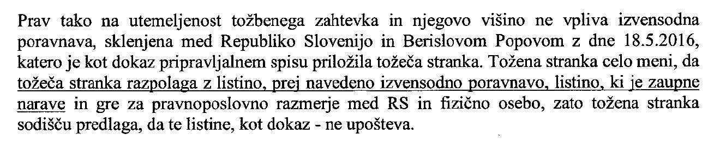 """Popov-Pravobranilstvo brani """"zaupnost"""" poravnave"""
