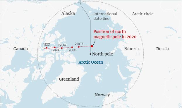 Premiki severnega magnetnega pola od leta 1831 naprej, vir: NOAA